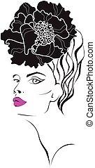 van een vrouw, gezicht, bloem, hair.