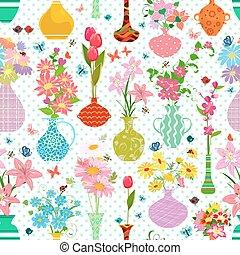 variëteit, lente, moderne, seamless, textuur, vazen, bloemen