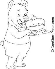 vasthouden, beer, taart, pagina, jonge, kleuren