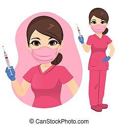vasthouden, verpleegkundige, vaccin, covid-19