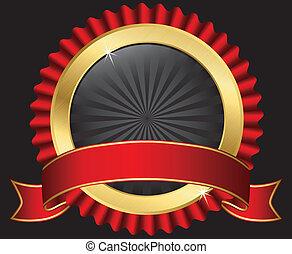 vecto, gouden, lint, rood, etiket