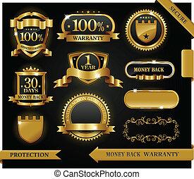 vector, 100%, guaranteed, etiket, bevrediging, bescherming, meldingsbord