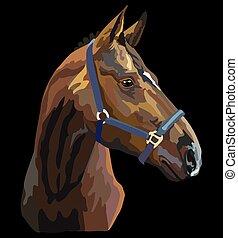 vector, 27, kleurrijke, paarde, verticaal