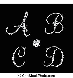 vector, alfabetisch, diamant, set, letters.