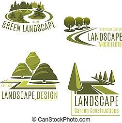 vector, bedrijf, natuur, iconen, landscaping