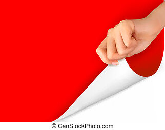 vector, blad, hand., illustratie, papier, leeg