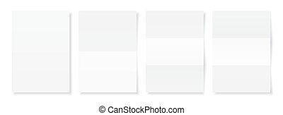 vector, blad, set., illustratie, papier, a4, mal, leeg, witte , schaduw, jouw, design.