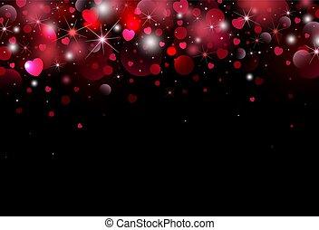 vector, bokeh, ontwerp, hart, achtergrond, dag, illustratie, valentines, licht
