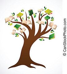 vector, boompje, boek, ilustration