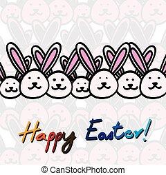 vector, bunnies, hand, grafisch, getrokken, pasen, kaart, vrolijke