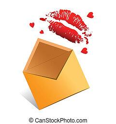 vector, concept, liefde brief, valentijn