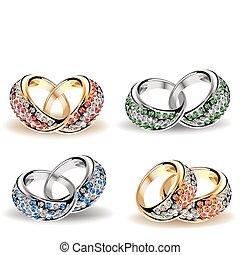 vector, diamonds., set, ringen, trouwfeest