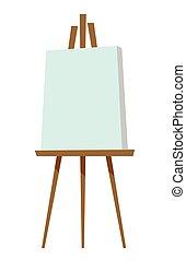 vector, doek, schildersezel, illustration., leeg