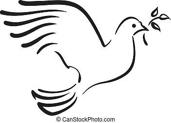 vector, duif, witte , tak