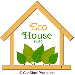 vector, eco, leaves., houten huis, groene