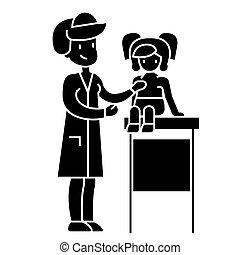 vector, examen, medisch, achtergrond, pictogram, vrijstaand, kinderarts, meldingsbord, arts, baby, stethoscope, illustratie, jonge