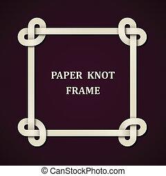 vector, frame, papier, knoop, achtergrond
