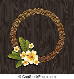 vector, &, frangipani, abstract, -, illustratie, ronde, tropische , hout, zwarte achtergrond, bloemen, frame