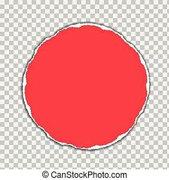 vector, gescheurd, cirkel, illustratie, realistisch, vorm, papier, achtergrond, schaduw, transparant, rood