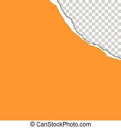 vector, gescheurd, illustratie, realistisch, papier, achtergrond, sinaasappel, schaduw, transparant