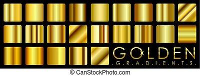 vector, gouden, gradients, set, goud