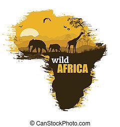 vector, grunge, poster, afrika, illustratie, achtergrond, wild