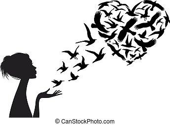 vector, hart formeerde, vogels, vliegen