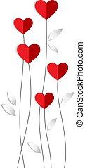 vector, hart, gemaakt, valentijn, papier, bloemen, kaart