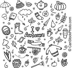 vector, herfst, afbeeldingen, set