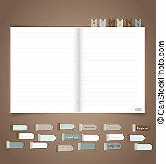 vector, herinnering, aantekenboekje, eps10, note.