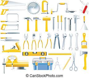 vector, houtbewerker, set, gereedschap, pictogram