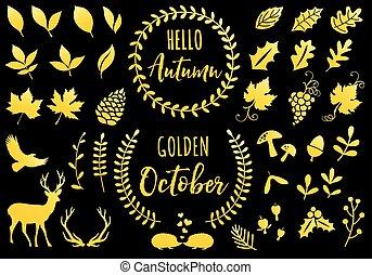 vector, iconen, gouden, set, herfst