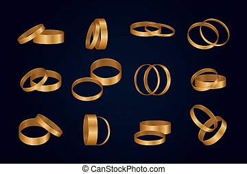 vector, illustratie, goud, rings., set, trouwfeest