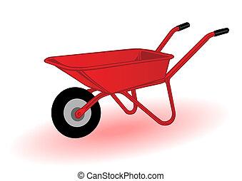 vector, illustratie, rood wheelbarrow