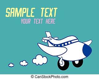 vector, illustratie, schattig, spotprent, vliegtuig