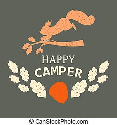 vector, illustration., schattig, squirrel, kamperen, kampeerder, nature., karakter, leaves., boompje, silhouette., herfst, springt, eikeltjes, dier, tak, het vallen, mooi en gracieus, spandoek, icon., vrolijke