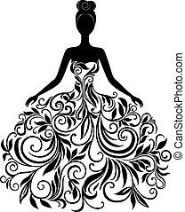 vector, jurkje, vrouw, silhouette, jonge