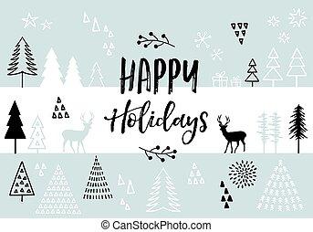 vector, kerstmis, achtergrond, kaart