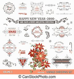 vector, kerstmis, communie, versiering, -, calligraphic, vastgesteld ontwerp, ouderwetse , lijstjes, pagina