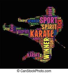vector, kleurrijke, woord, illustratie, typografie, karate, wolk