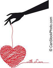 vector, krabbelen, hart, hand