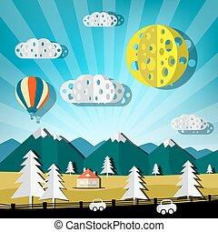 vector, landschap., knippen, heuvels, straat, natuur scène, auto's, lucht, warme, papier, balloon.