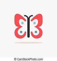 vector, lente, kleur, pictogram, shadow., illustratie, butterfly.