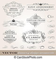 vector, lijstjes, vastgesteld ontwerp, versieringen