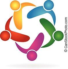 vector, logo, omhelzing, teamwork, mensen
