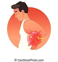 vector, menselijk, sporten, of, overbelasting, injury., back, werken, torso., illustratie, concept, pijnlijk
