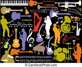 vector, muziek, elements.