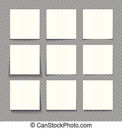 vector, notepad, illustratie, papier, effecte, bladen, leeg, witte , schaduw