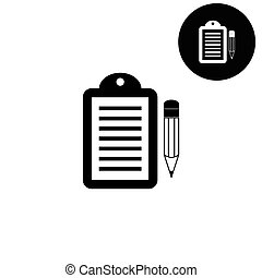 vector, notepad, witte , pictogram, -