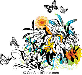 vector, ontwerp, floral